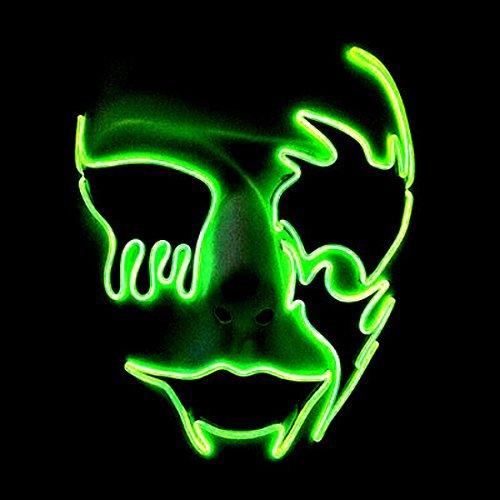 El Wire Glowing Mask Luminous LED Light Up Cool Halloween DJ Birthday Cosplay Death Grimace Masks for Festival Party Show (Fluorescent Green)