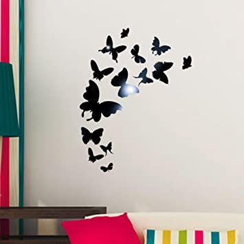 Sunnymi 3D Schmetterling Acryl Spiegel Wand Aufkleber DIY 14pcs  Fernseheinstellungswand Dekorativen Aufkleber Wandaufkleber