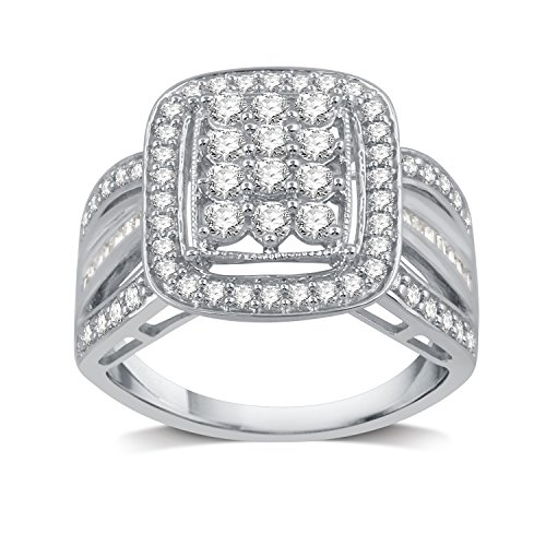 DeCarat 1 CT.T.W. Diamond Sterling Silver Square-Shaped Cluster Ring by DeCarat