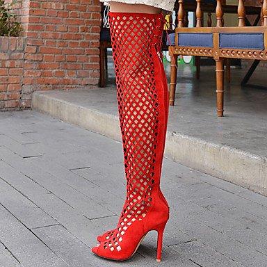 LvYuan Mujer-Tacón Stiletto-Otro-Sandalias-Vestido Informal Fiesta y Noche-Vellón-Negro Marrón Rojo Gris Black