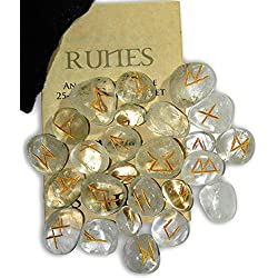 Crystal Quartz Pure Energy Gemstone Runes with Engraved Lettering, Instruction Leaflet & Velvet Pouch