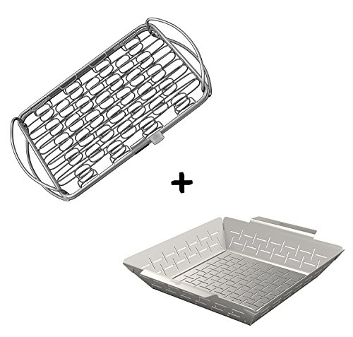 Fish Grilling Basket (sm) + Vegetable Grill Holder - DISHWASHER SAFE STAINLESS STEEL - Large Non Stick BBQ Grid Pan For Veggies Meat Shrimp & Fruit - Barbecue Topper Accessories Gift for Dad