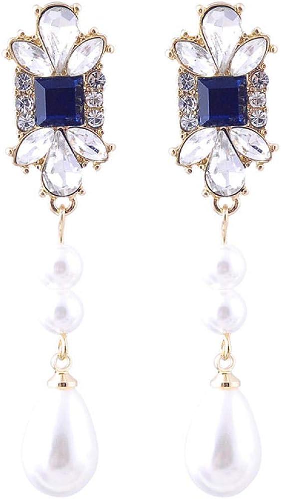 Pendientes,Pendientes De Otoño E Invierno,Pendientes De Gemas De Cristal Cuadrado Azul,Regalo De Pendientes De Perlas Elegantes Y Largos Y Elegantes