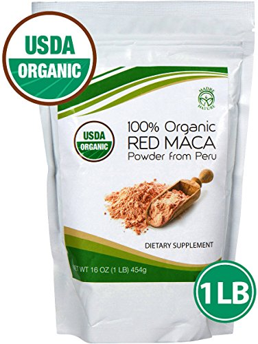 Madre Nature - 100% Peruvian Organic Gelatinized Red Maca Powder - (1LB) - non-GMO - Vegan - Gluten Free (16oz)
