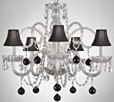 CRYSTAL CHANDELIER CHANDELIERS LIGHTING WITH BLACK CRYSTAL BALLS AND SHADES! For Sale