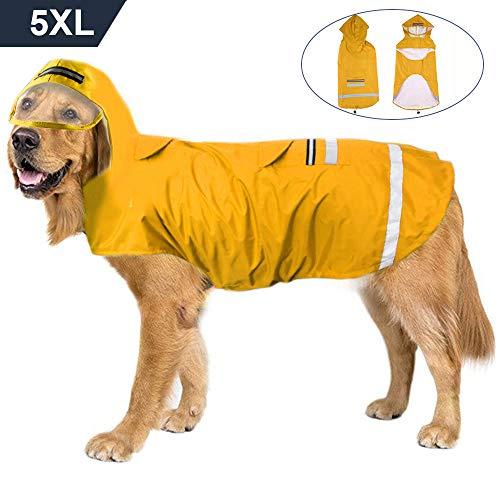 (Dog Raincoat 5XL for Large Dogs Waterproof Pet Raincoat Breathable Hooded Dog Jacket with Safe Strip, Leash Hook and Pocket Yellow)