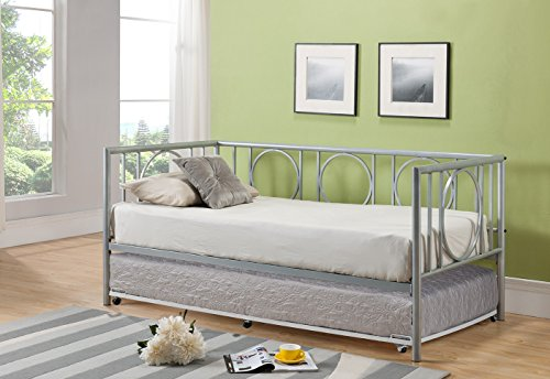 Kings Brand Metal Astoria Day Bed (Daybed) Frame With Trundle (Silver)