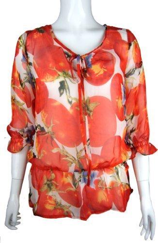 Traje de neopreno para mujer para tomates blusa de diseño de patrón de tela de chifón