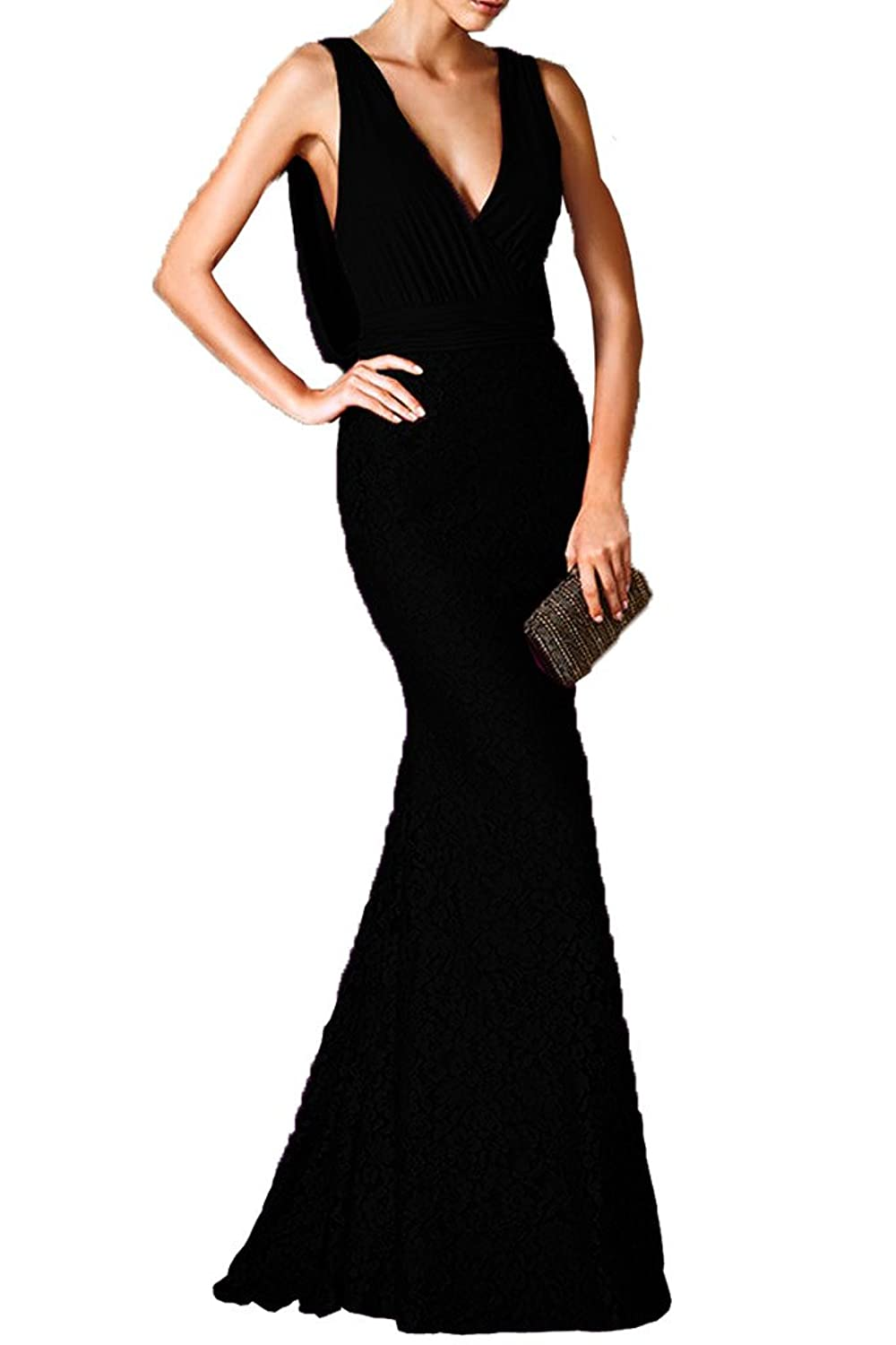 Charm Bridal Women Prom Dresses Deep V-neck Lace Evening Party Dresses Backless