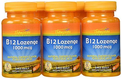 Thompson B-12 Lozenges, Cherry Flavor + Folic Acid, 30 Lozenges,  (Pack of 6) Review