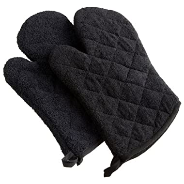 DII 100% Cotton, Machine Washable, Heat Resistant, Everyday Kitchen Basic, Terry Oven Mitt, 7 x 13 , Set of 2, Black