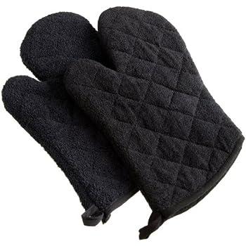 DII 100% Cotton, Terry Oven Mitt Set Machine Washable, Heat Resistant, 7 x 13, Black, 2 Piece