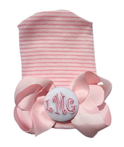 2d6994ba0ff BEST BABY SHOWER Gift!!! Personalized Newborn Hospital Hat with Detachable  Forever Hair Bow with Monogram. Infant Baby Girl Newborn Hospital Cap.