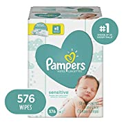 Pampers Sensitive Water Baby Diaper Wipes, Hypoallergenic and Unscented, 576 Total Wipes