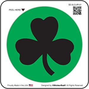 3 LEAF CLOVER CIRCLE V1 (3 PACK) Full Color Printed Sticker by StickerDad (size: 2