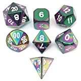(US) Set of 7 Rainbow Metal Dice-DnD Dice Set with Drawstring Pouch for Role Playing Games