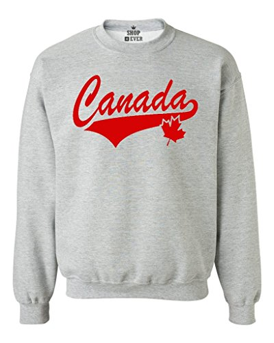 Shop4Ever Canada Red Crewneck Sweatshirts Large Sports Grey 0