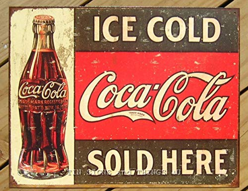 ShopForAllYou Vintage Decor Signs Coke Coca Cola Sold Here TIN Sign Bottle 1916 Drink ad VTG Metal Wall Decor 1299