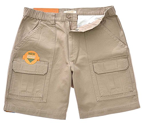 Savane Mens Comfort 30+UPF w/Tech Pocket Hiking Shorts, Khaki (38)