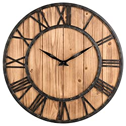 Wall Clock, GTKRTU Creative Round Silent Wooden Wall Clock Decorative Clock for Living Room Kitchen Bathroom Bedroom