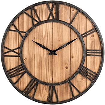 uttermost 06344 powell wooden wall clock home kitchen. Black Bedroom Furniture Sets. Home Design Ideas