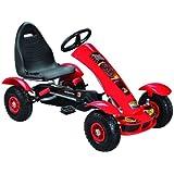 Kids pedal go-kart ride-on car, adjustable seat, rubber tyres, red