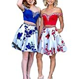 alilith.Z Beaded 2 Piece Homecoming Dresses 2018 Short Floral Off Shoulder Prom Dresses Party
