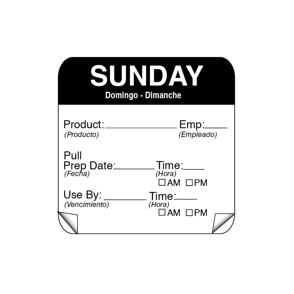 DayMark 115151-7 ToughMark 2'' Sunday Use By Day Square - 500 / RL