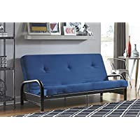 DHP Black Metal Arm with 6 Futon Mattress, Converts from Sofa to Full Size Sleeper, Blue