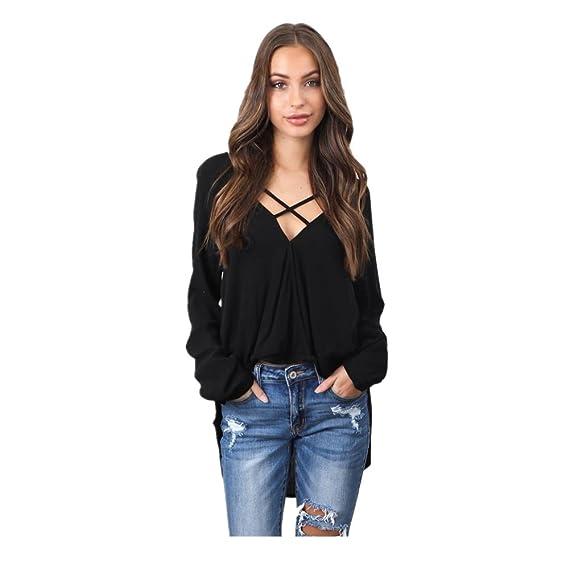 QinMM Camiseta con Cuello EN v Para Mujer, Blusa de Chifón de Manga Larga Camisas