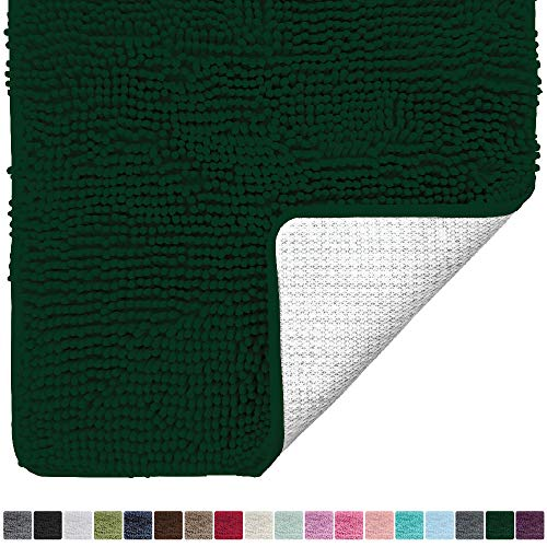 Gorilla Grip Original Luxury Chenille Bathroom Rug Mat (30 x 20), Extra Soft and Absorbent Shaggy Rugs, Machine Wash/Dry, Perfect Plush Carpet Mats for Tub, Shower, and Bath Room (Hunter Green)