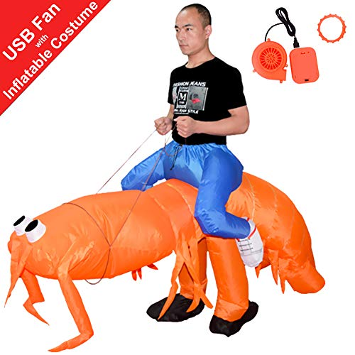 HUAYUARTS Inflatable Costume Orange Shrimp Blow up Costume Fancy Dress Halloween Jumpsuit Cosplay Outfit, Adult ()