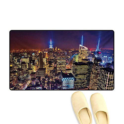 Bath Mat,Aerial Cityscape Landmark Fourth of July Independence Penthouse Modern Art Image,Door Mat Small Rug,Purple Gold,32