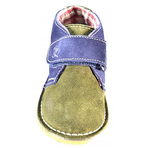 Naturino - Naturino Scarpe Bambino Verde Militare Blu Pelle Strappi Velcro 4702 - Verde, 22