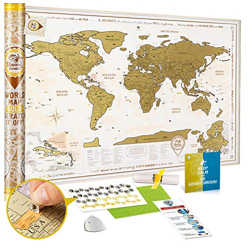 Scratch Off World Map Poster Gold - Large Detailed Scratch Off Map of The World 35x25 - Premium Travel Map Scratch Off with USA States and 2 Enlarged Maps - Discovery Map