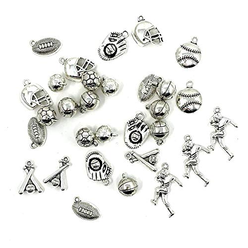 Ball Sports Charms Collection - JIALEEY Mixed Ball Games Sport Charms Pendants for Jewelry Making DIY Findings 30pcs(100g) ()