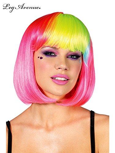 Leg Avenue Neon Pink Pop Rainbow Bang Bob Wig -