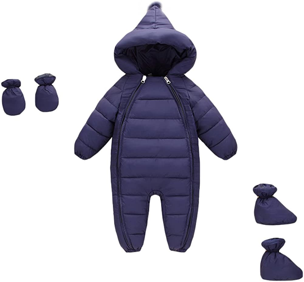 Newborn Baby Boy Girl Hooded Winter Puffer Snowsuit with Shoes and Gloves