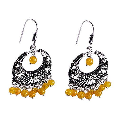 silvesto Inde Jaune Perles Quartz Plaqué Argent 925Boucles d'oreille pendantes PG 24537