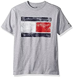 Tommy Hilfiger Big Boys' Short Sleeve Tommy Flag Tee, Grey Heather, S