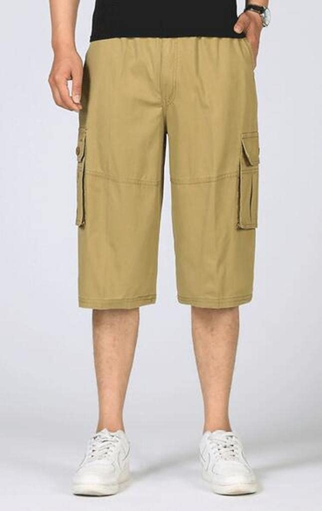 Heless-Men Cotton Casual Drawstring Plus Size Cropped Pants Twill Loose Cargo Shorts