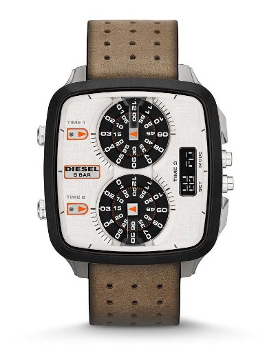 Diesel DZ7303 HAL Silver Orange Ana / Digi Date Dial Tan Leather Men Watch NEW