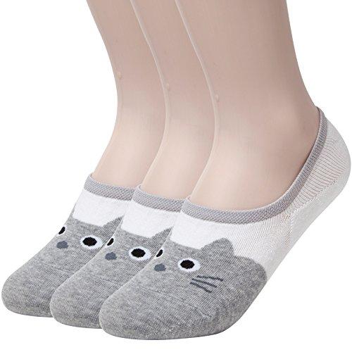 Sockstheway Womens Cute Anti-Slip No Show Socks, Cat Low Cut Liners (3P, Grey)