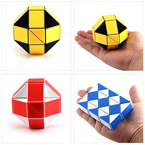 Speed Cube Snake Ruler Twisty Fidget Cube Puzzle Pack Stickerless Magic Snake Game Toys Collection Brain Teaser for Kids (24 Parts 6PCS) by Ganowo (Image #6)