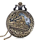 Vintage Retro Bronze Hollow Train Locomotive Steampunk Quartz Pocket Watch Women Men