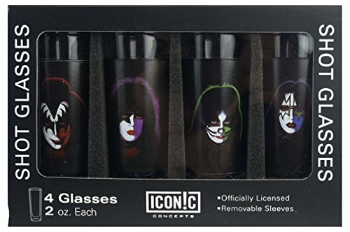 KISS Faces Shot Glass Glasses Set (4 Pack)