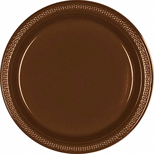 3038 Chocolate - Creative Converting Touch of Color 20 Count Plastic Banquet Plates, Chocolate Brown