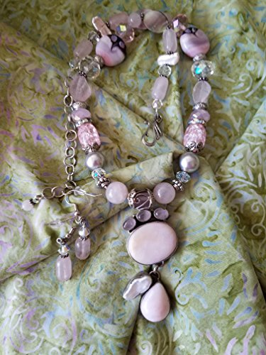 Peruvian Opal Necklace (Db Pink Peruvian Opal in Sterling Silver Necklace Set)