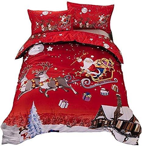TEALP Copripiumino Natalizio King Size Regali di Natale di Babbo
