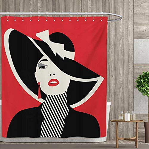 - smallfly Girls Satin Fabric Bathroom Washable French Style Icon in Shabby Chic Classical Vintage Hat and Striped Coat Design Print Shower Curtains Digital Printing 60